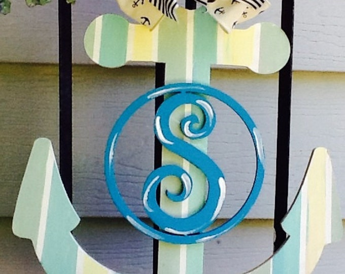 Beach anchor door hanger, beach door hanger, beach sign, beach house sign, ocean scene sign, summer door hanger, summer sign,