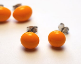 Dark Yellow/Light Orange Glass Studs on Titanium Posts