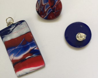 Polymer clay jewelry, mokume gane, mokume gane necklace, mokume gane earrings, July 4th, 4th of July, Independence Day, red white and blue