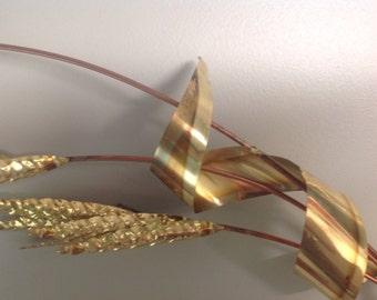 Pair gold midcentury metal wheat sprays, gold metal wall art, vintage wheat sprays, WW