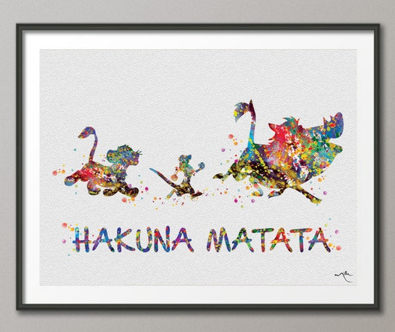 Hakuna Matata 2 The Lion King Watercolor Art Print by ...