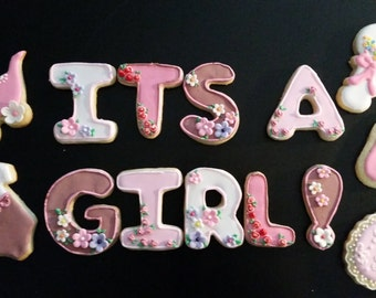Baby Shower Cookies - Its A Girl ! - set of 39 cookies
