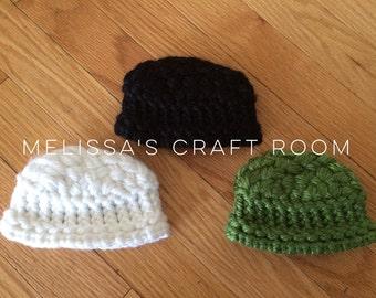 Knit American Girl Doll Size Hat w/ Basket Weave Top (choose 1) D0014