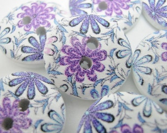 "10 Purple Floral Buttons 15mm (5/8"") Wood Purple Flower Sewing Button Clothing Buttons Knitting Sewing Accessories"