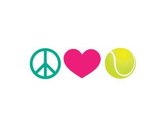 Peace Love Tennis Car Decal