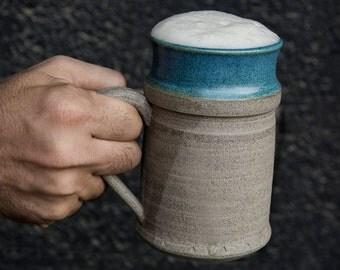 Large Handmade Ceramic Beer Mug / Pottery Beer Stein / Beer Tankard / Gift for men