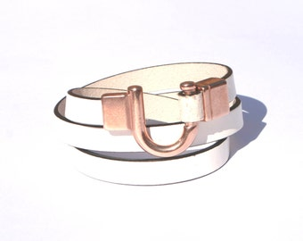 Leather Bracelet Wrap White with Rose Gold Clasp