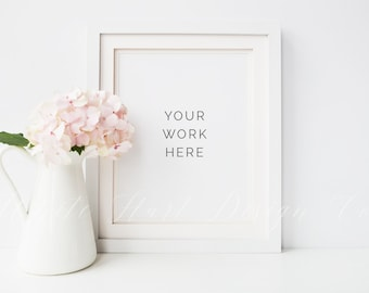 """Styled stock photography - White frame + hydrangea mock up - 8 x 10"""" - High Res Jpeg file + PSD"""