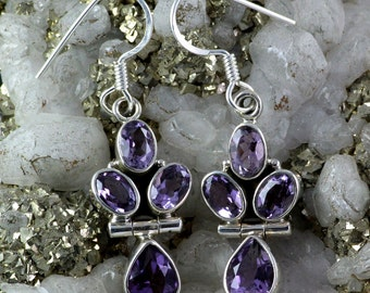 Amethyst Earring, Amethyst Gemstone, Amethyst Jewellery, 925 Sterling Silver, Designer Earring, Dangle Earring, Silver Earring, Jewellery