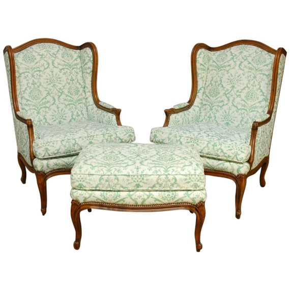 Pair of Baker Wingback Chairs with Ottoman by ErinLaneEstate