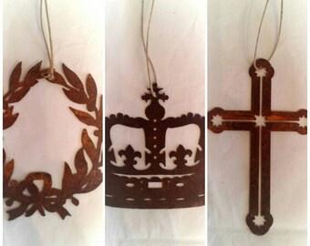 Rusty Metal, Wreath, Crown, Cross, Decorative Shapes.