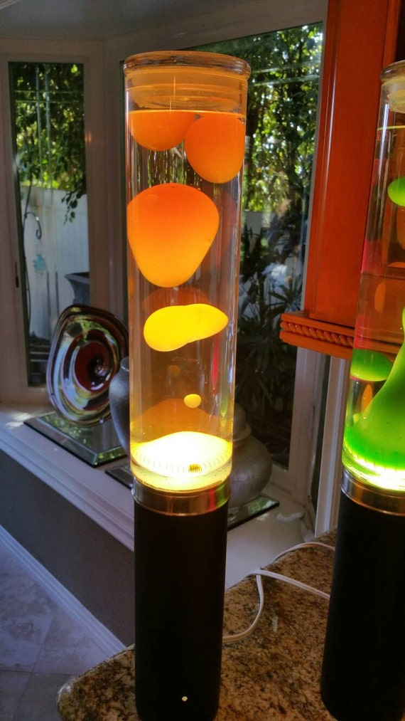 Neon Table Light: Lava Lamp Table Tower Neon Orange Yellow By LavaLampShop