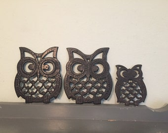 Three Owl Cast Iron Trivets, Made in Taiwan
