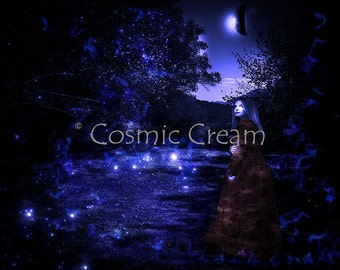 Instant Download Fine Art Photography Blue Eclipse Blonde Girl In The Night Forest