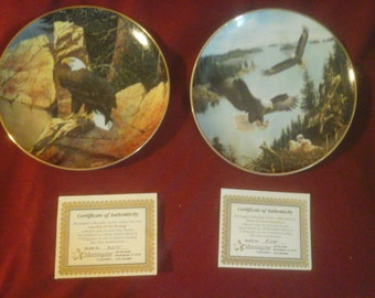 2 morningstar eagle collector plates