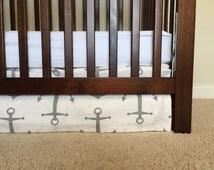 Anchor Crib Skirts, Gray Nautical baby bedding, Nautical crib skirts, Gray crib skirt, Neutral crib skirt,Baby boy crib skirt, anchor cri