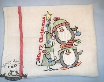 Christmas penguin tea towel