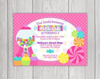Candy Sweet Shoppe Birthday Invitation