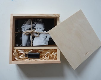 "Unfinished wood photo & usb box for 4"" x 6"" (10x15cm) photos + USB with a sliding lid,  unpainted wooden photo usb print box decoupage"