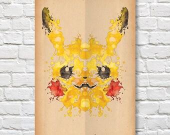 """Pikachu Rorschach Poster (Pokemon) - 11"""" x 17"""""""