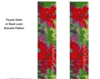 Red Flowers Even Count Peyote Stitch Bracelet Pattern