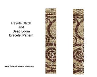 Beadweaving Bracelet Pattern - Peyote Stitch and Bead Loom Bracelet Patterns - Study in Brown