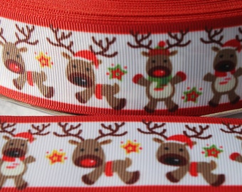 "1.5"" Christmas Reindeer Grosgrain Ribbon - Grosgrain Ribbon by the Yard for Hairbows, Scrapbooking, and More!!"