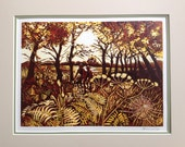 Original reduction linocut. 'Autumn tandem ride' Edition of 15.