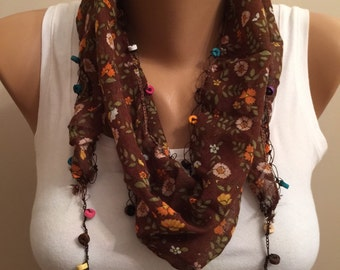 Brown Floral Scarf, Lace Scarf, Fashion Items, Floral Cotton Headband, Birthday Gift, Floral Pattern Scarf, Brown Accessory, Mother's day
