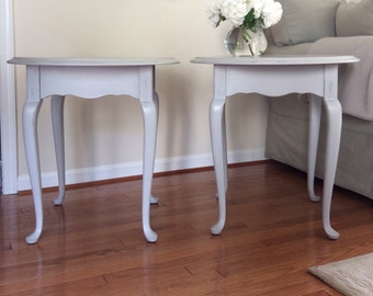 French Provinical Grey End Tables, Cottage Chic Distressed Side Tables, French Country, Shabby Chic, Home Decor