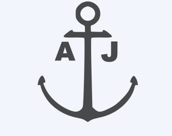 Boat Anchor Sticker with Custom Initials - Home/Laptop/Computer/Phone/Truck/Car Bumper Sticker Decal
