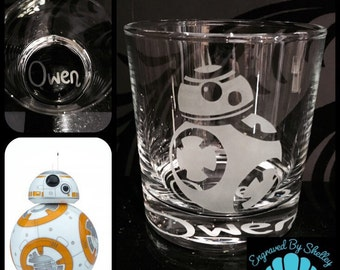 Personalised BB8 Glass With Free Name Engraved. Totally Unique Gift For Any Star Wars Fan!