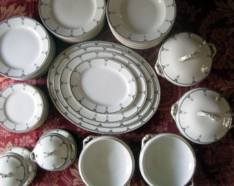 Vintage Dinner Service, Wedgwood And Co, Art Deco Dinner Service, Antique Dinner Set, Porcelain Dinnerware Set, Vintage Dinnerware