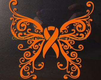 Orange Awareness Ribbon Fancy Butterfly Window Decal (Kidney Cancer, Kidney Disease, Leukemia, Melanoma, Multiple Sclerosis, Skin Cancer)