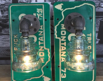 Steampunk 1973 Montana License Plate Whitall Tatum Pipe Lamp Sconces