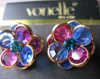 Vintage Vonelle Swarovski Crystal Bezel Earrings New on Card