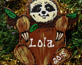 U CHOOSE Name and Year Personalized SLOTH Christmas ORNAMENT Holiday Decor