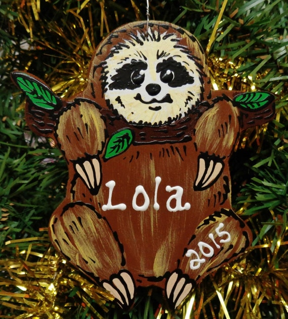 U CHOOSE Name And Year Personalized SLOTH Christmas ORNAMENT