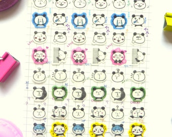 Pandas Washi Paper Stickers Kawaii Stickers for Scrapbooking and Planners
