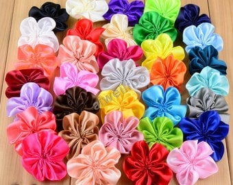 Satin Flowers,Ribbon Flowers, Fabric Flower For Diy Hair Accessories