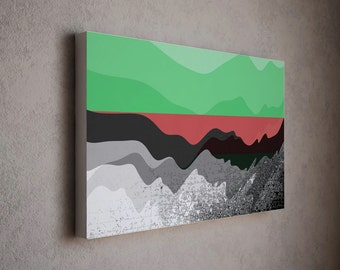 Clear green red and grayscale abstract art composition in golden ratio frame / simple modern art canvas print