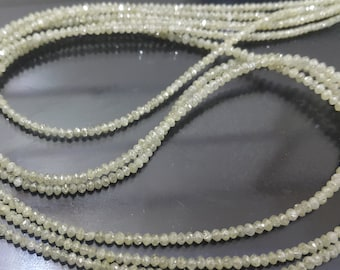 14 Inches, Pale Yellow White Diamond Faceted Rondelles 2.5-2mm