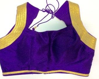 Purple Dupion Silk Halter Sari Blouse