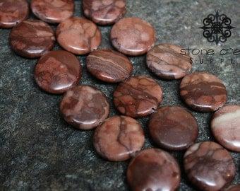 20mm Natural Red Zebra Jasper Stone - Round Coin Beads - 6mm Thick - QTY 10 - Half Strand - Stone Creek Supply - 142015
