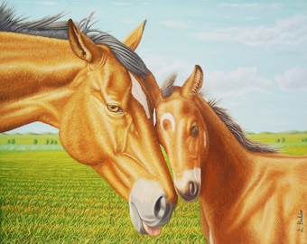 Oil painting depicting the love between two horses in a meadow, a Mare and her foal-71 x 58 cm Horses Pferde Chevaux Caballos
