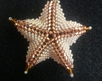 Peach Starfish beaded Necklace on 18' Chain