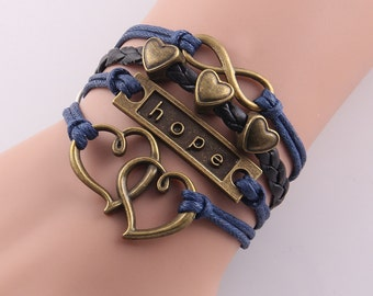 Multilayer Leather Hope,Hearts & Infinity Bracelet