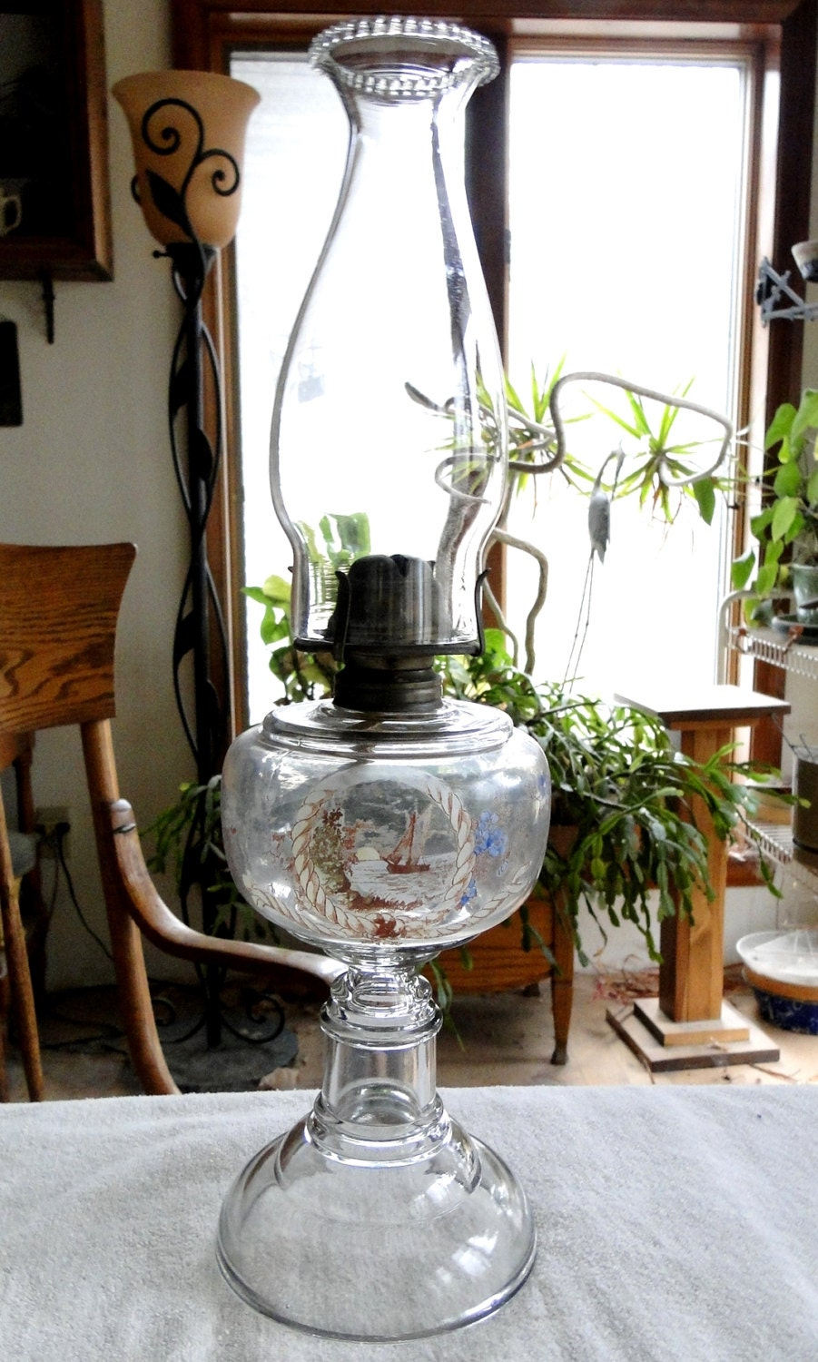 Antique Early 1900 S Sailboat Painted Oil Lamp With And