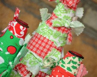 Fabric rag Christmas Tree Set ~ Holiday Home Decor