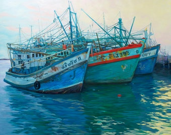 Thailand Harbour. Thailand Painting. Asian Fishing Boats. Marina Painting. Fishing Boat Art. Thailand Art. Thailand Boats. The Marina.